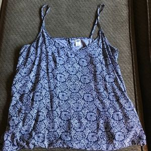 Blue Patterned Tank Top